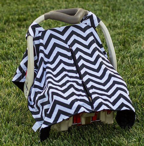 Black Chevron Black Minky Car Seat Canopy