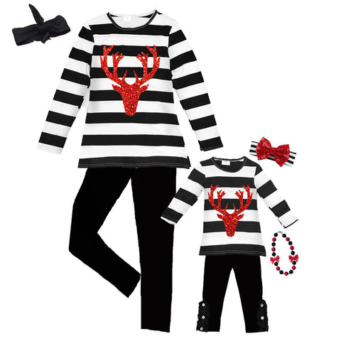 Black Deer Outfit Red Sparkle Stripe Mommy And Me Top And Pants