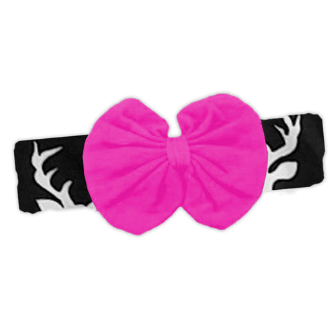 Black Deer Pink Messy Bow Headband