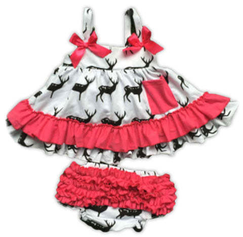 Black Deer Pink Ruffle Two Piece