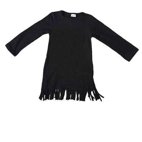 Black Fringe Dress Long Sleeve