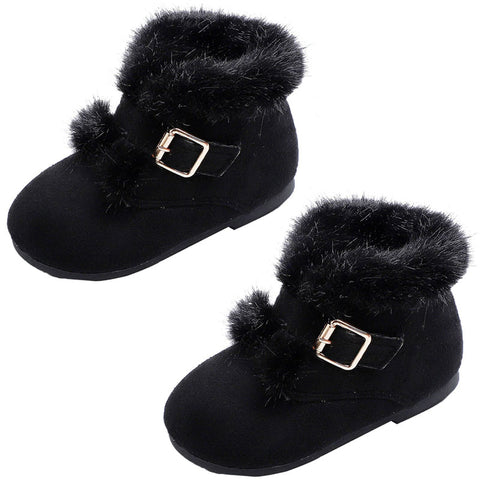 Black Fur Boots Buckle Shoes