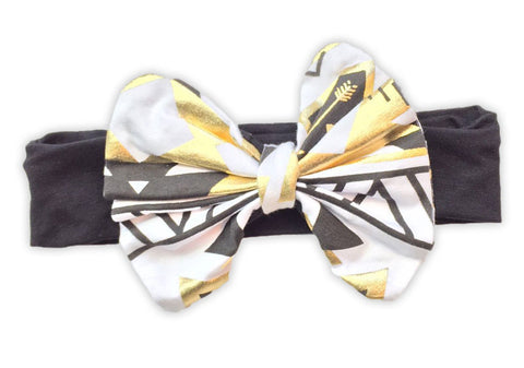 Black Gold Aztec Messy Bow Headband
