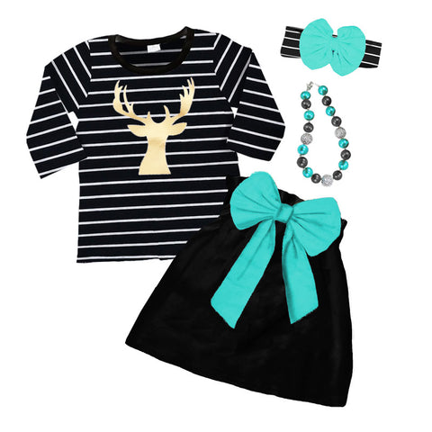 Black Gold Deer Outfit Stripe Teal Top And Skirt