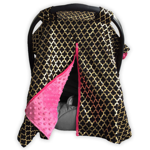 Black Gold Moroccan Pink Minky Car Seat Canopy