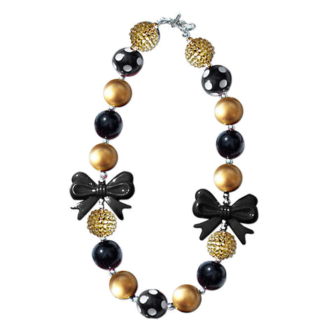 Black Gold Necklace Bow Sparkle Gumball