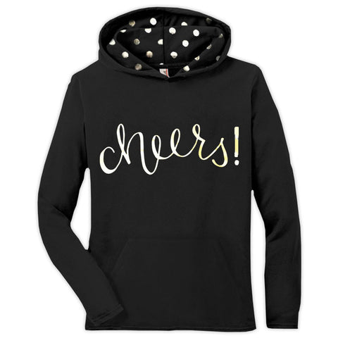 Black Gold Polka Cheers Adult Hoodie