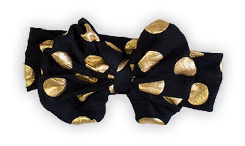 Black Gold Polka Messy Bow Headband
