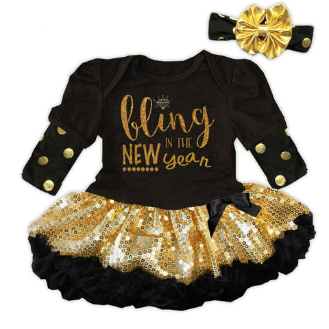 Black Gold Sequin Bling New Year Onesie Tutu