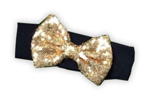 Black Gold Sequin Bow Head Wrap