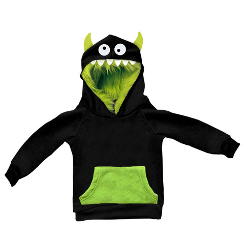 Black Green Monster Teeth Hoodie