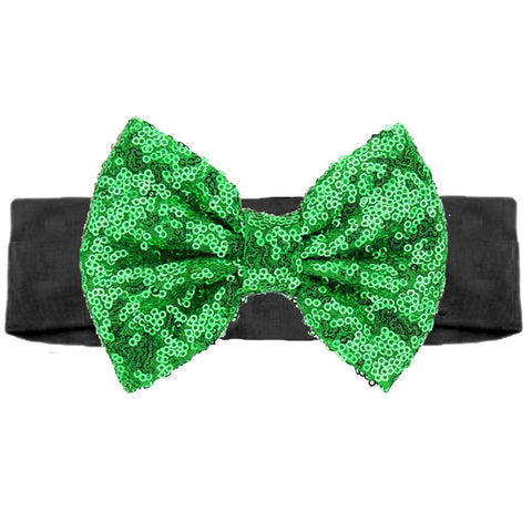 Black Green Sequin Bow Head Wrap