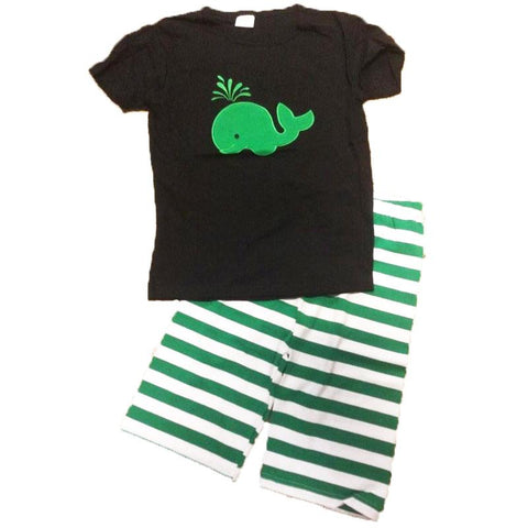Black Green Whale Stripe Shorts Set