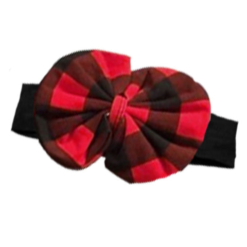Black Headband Red Buffalo Plaid Messy Bow