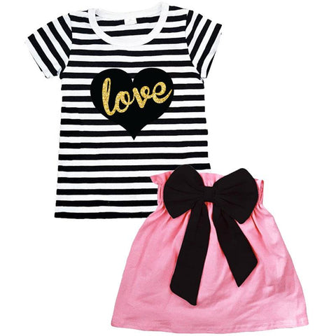 Black Heart Outfit Stripe Pink Top And Skirt