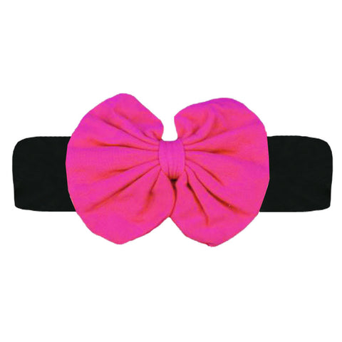 Black Hot Pink Messy Bow Headband