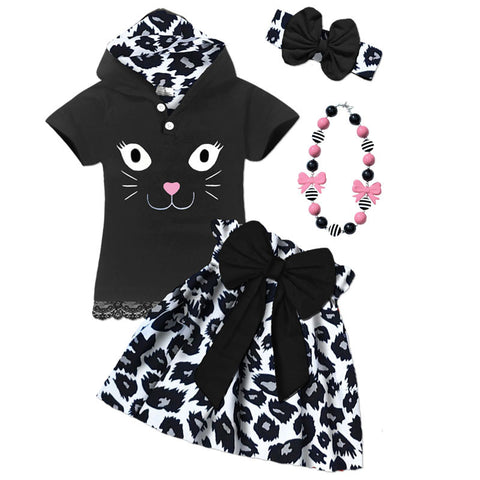 Black Kitty Bow Hoodie And Skirt