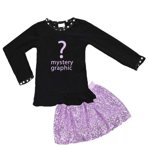 Black Lavender Sequin Outfit Polka Dot Top And Skirt Mystery