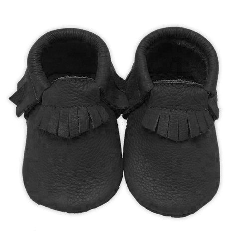 Black Leather Moccasin Shoes Boy