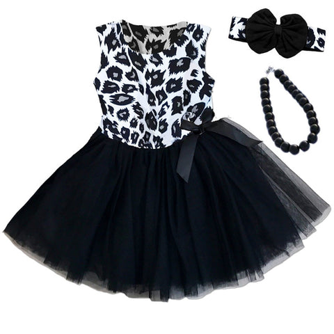 Black Leopard Bow Tutu Dress