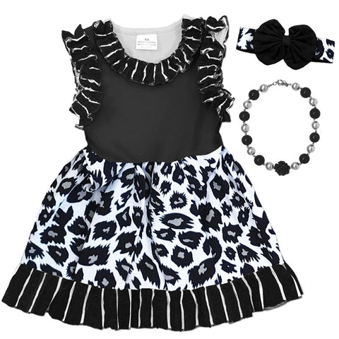 Black Leopard Stripe Ruffle Dress