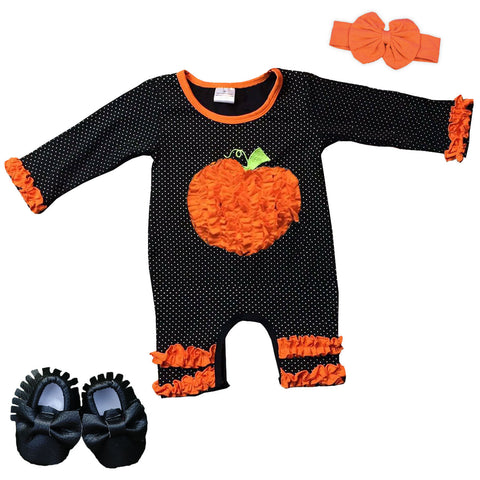 Black Mini Polka Pumpkin Orange Ruffle Romper