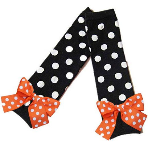 Black Orange Bow Leg Warmers Polka Dot