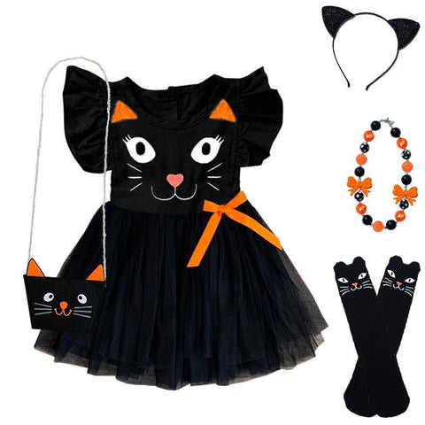 Black Orange Cat Tutu Dress Ruffle Kitty Face