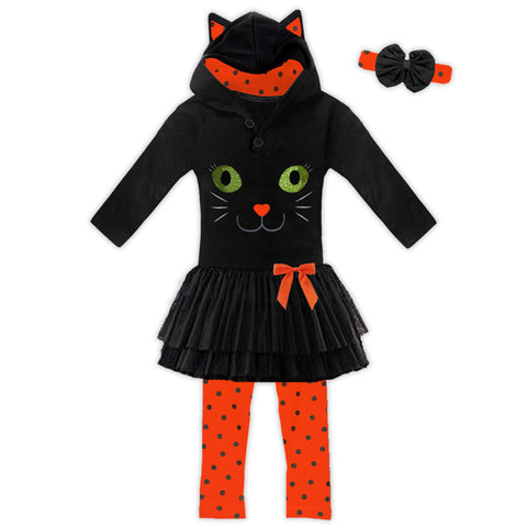 Black Orange Cat Tutu Legging Costume