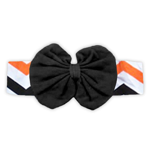 Black Orange Chevron Messy Bow Headband