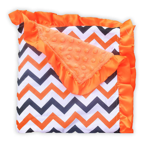 Black Orange Chevron Orange Minky Blanket