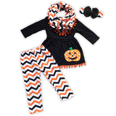 Black Orange Chevron Polka Pumpkin Pant Set