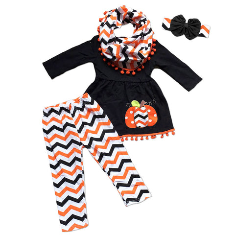 Black Orange Chevron Pumpkin Pom Top And Pants