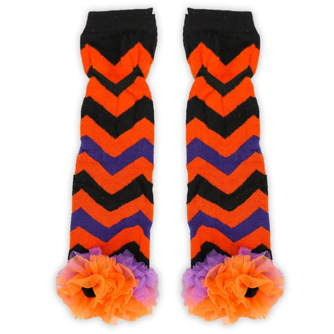 Black Orange Purple Chevron Leg Warmers