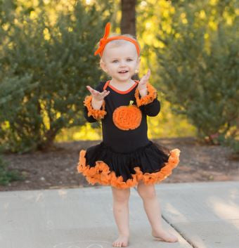 Black Orange Ruffle Onesie Tutu