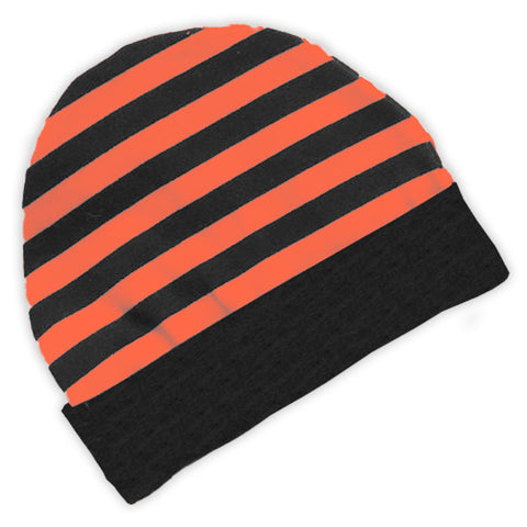 Black Orange Stripe Beenie Hat