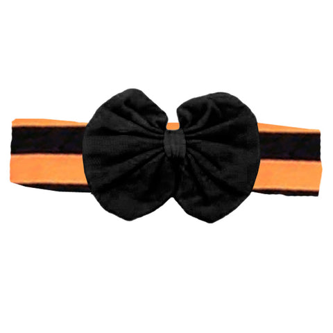 Black Orange Stripe Black Messy Bow Headband