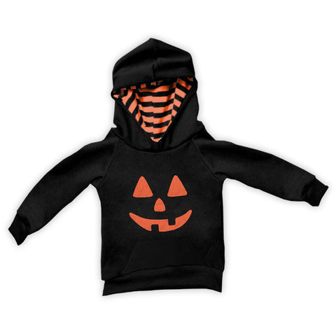 Black Orange Stripe Pumpkin Boy Hoodie