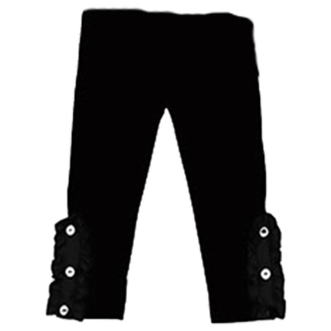 Black Pants White Button Ruffle