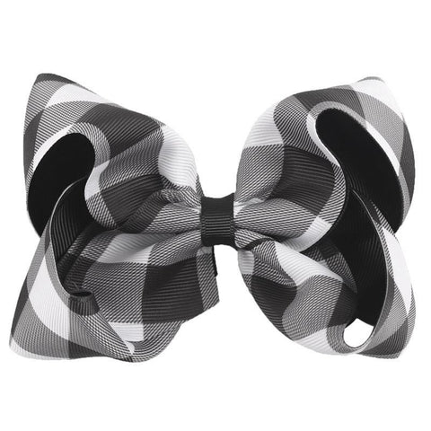 Black Plaid Hair Bow