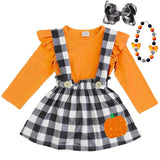 Black Plaid Outfit Orange Pumpkin Top And Jumper
