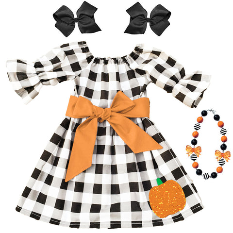 Black Plaid Pumpkin Dress Sequin Orange Bow