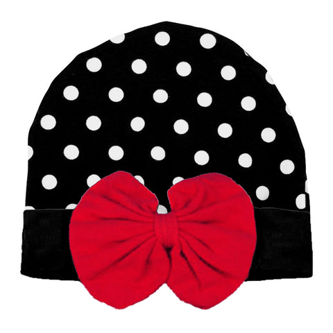 Black Polka Dot Beenie Hat Red Messy Bow