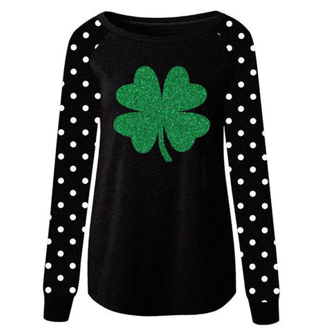 Black Polka Dot Clover Shirt Green Adult Mommy