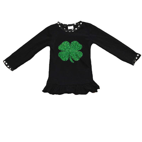 Black Polka Dot Clover Shirt Green