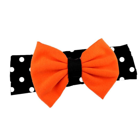 Black Polka Dot Headband Orange Messy Bow