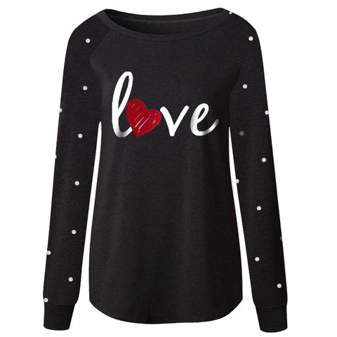 Black Polka Dot Love Shirt Heart Adult Mommy