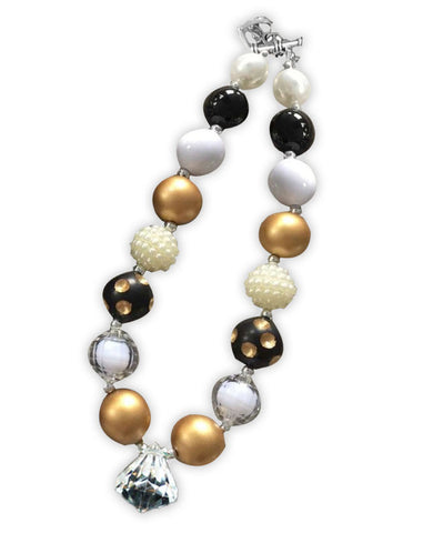 Black Polka Gold White Diamond Necklace