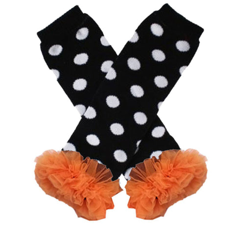 Black Polka Orange Ruffle Leg Warmers
