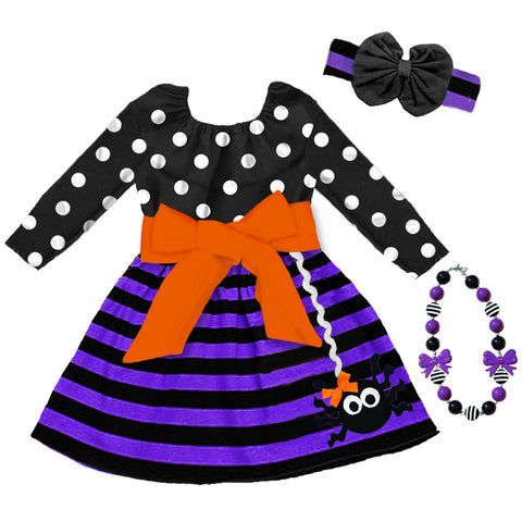 Black Polka Purple Stripe Spider Dress
